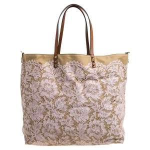Valentino Beige/Light Pink Canvas and Lace Glamorous Reversible Tote