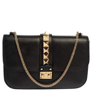 Valentino Black Leather Medium Rockstud Glam Lock Flap Bag