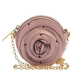 Valentino Pink Leather Mini Rosette Chain Purse