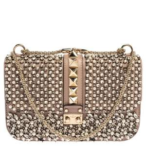 Valentino Old Rose Crystal/Beads Embellished Leather Medium Glam Lock Flap Bag