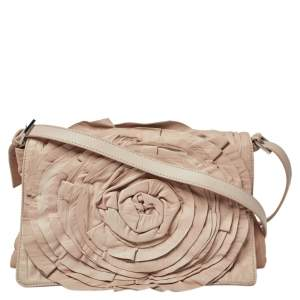 Valentino Beige Crinkled Leather Petal Messenger Bag