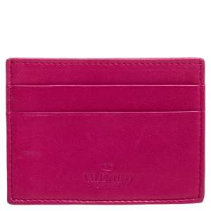 Valentino Pink Leather Card Holder