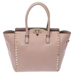 Valentino Pale Pink Leather Rockstud Trapeze Tote