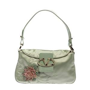 Valentino Mint Green Satin and Leather VRing Crystal Embellished Hobo