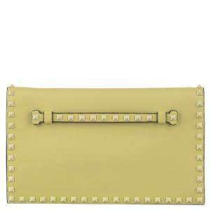 Valentino Yellow Leather Rockstud Clutch Bag