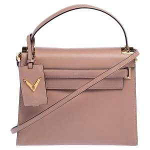 Valentino Beige Leather My Rockstud Top Handle Bag