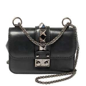 Valentino Black Leather Rockstud Mini Glam Lock Shoulder Bag