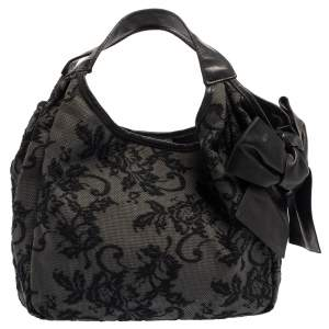 Valentino Black Embroidered Nylon Medium Nuage Bow Hobo