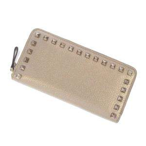 Valentino Brown Leather Rockstud Continental Wallet