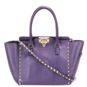 Valentino Purple Leather Rockstud Satchel Bag