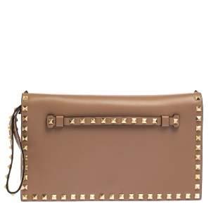 Valentino Beige Leather Rockstud Wristlet Clutch