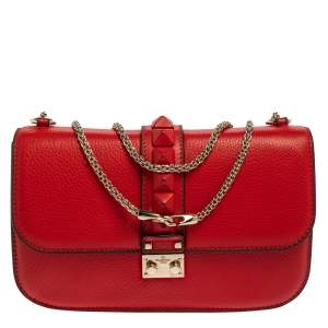 Valentino Red Lipstick Leather Medium Rockstud Glam Lock Flap Bag