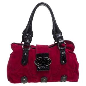 Valentino Dark Pink/Black Suede and Snakeskin Crystal Embellished VRing Satchel