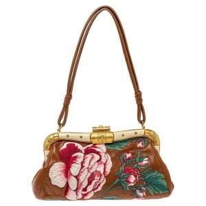 Valentino Brown Leather Floral Embroidered Frame Baguette Bag