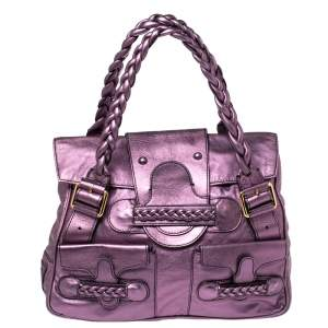 Valentino Metallic Purple Leather Histoire Satchel