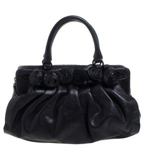 Valentino Black Leather and Snakeskin Lacca Fleur Frame Satchel