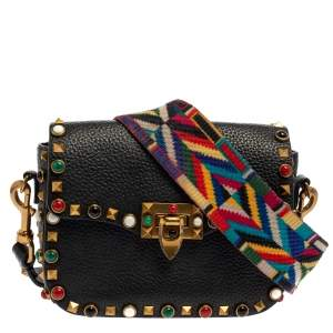 Valentino Black Grained Leather Guitar Rolling Rockstud Shoulder Bag