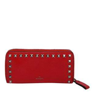 Valentino Red Grainy Calfskin Leather Large Rockstud Wallet