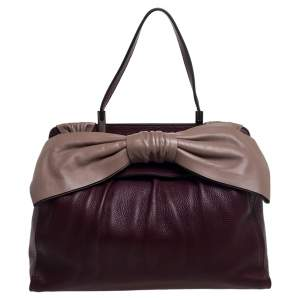 Valentino Burgundy/Beige Leather Aphrodite Bow Top Handle Bag
