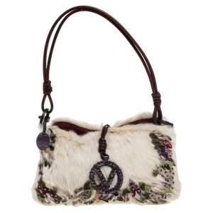 Valentino Off White Fur Floral Applique Charm Shoulder Bag