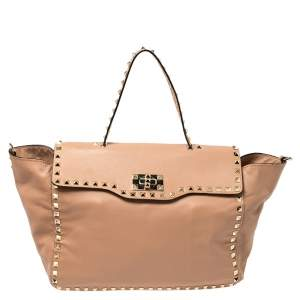 Valentino Pink Soft Leather Rockstud Top Handle Bag