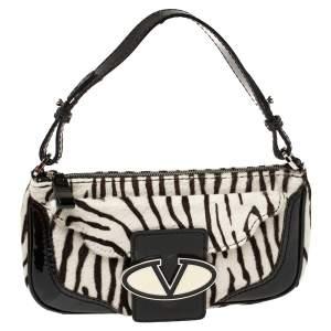 Valentino White/Black Zebra Print Calf Hair And Patent Leather Shoulder Bag