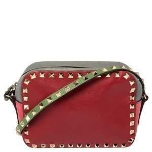 Valentino Multicolor Leather Rockstud Camera Crossbody Bag