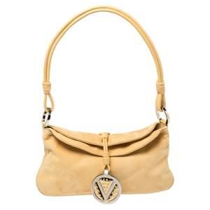 Valentino Yellow Suede Logo Charm Shoulder Bag