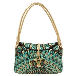 Valentino Multicolor Embroidered Printed Suede VRing Flap Hobo