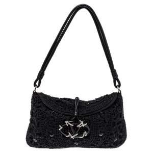 Valentino Black Embellished Crochet Fabric VRing Flap Hobo