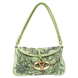 Valentino Apple Green Suede and Snakeskin Embellished VRing Flap Hobo