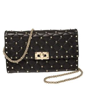 Valentino Black Quilted Leather Rockstud Spike Chain Clutch