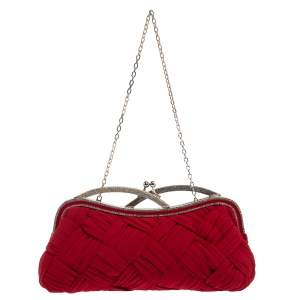 Valentino Red Woven Fabric Crystal Embellished Kisslock Chain Clutch