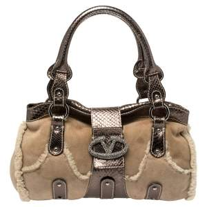 Valentino Beige/Metallic Shearling and Snakeskin VRing Flap Satchel