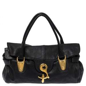 Valentino Black Soft Leather Clasp Flap Satchel