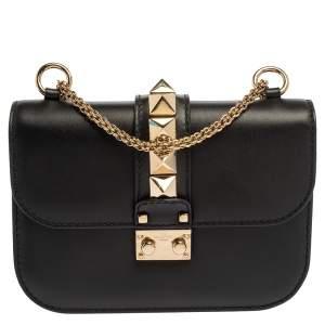Valentino Black Leather Small Rockstud Glam Lock Flap Bag