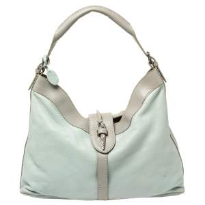 Valentino Mint Blue/Grey Grain Leather Metal Flap Hobo