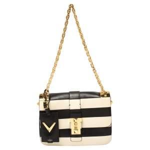 Valentino Black/Ivory Striped Leather B-Rockstud Flap Bag