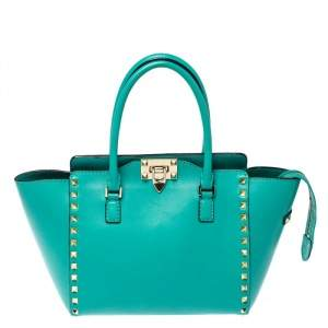 Valentino Green Leather Small Rockstud Trapeze Tote