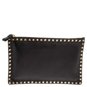 Valentino Black Leather Rockstud Flat Pouch