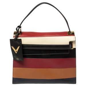 Valentino Multicolor Striped Leather My Rockstud Top Handle Bag