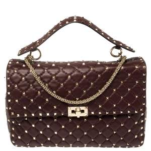 Valentino Burgundy Quilted  Leather Rockstud Spike Top Handle Bag