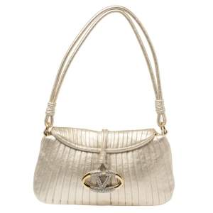 Valentino Gold Pleated Leather Shoulder Bag