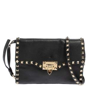 Valentino Black Leather Small Rockstud Crossbody Bag