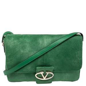 Valentino Green Calfhair and Leather Flap Shoulder Bag