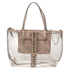 Valentino Transparent/Pink PVC and Leather Rockstud Naked Tote