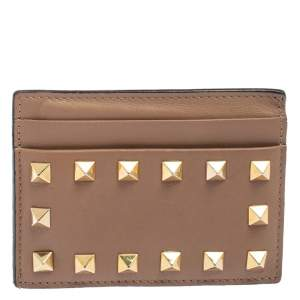 Valentino Beige Leather Rockstud Card Holder