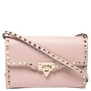 Valentino Pink Leather Small Rockstud Crossbody Bag