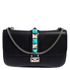 Valentino Black Grained Leather Rockstud Medium Glam Lock Flap Bag