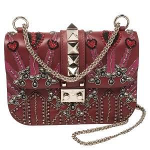 Valentino Burgundy Beads Embellished Leather Small Love Blade Rockstud Glam Lock Shoulder Bag